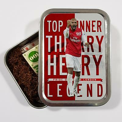 Thierry Henry Arsenal 2oz Tobacco Tin Baccy Football Legend Storage Gift LG75