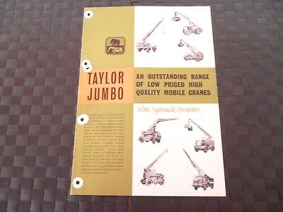 Taylor Jumbo Outstanding Range Quality Mobile Cranes Leaflet *as Pictures*