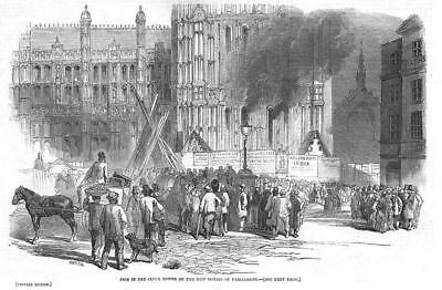 HOUSE OF PARLIAMENT Fire in the Clock Tower - Antique Print 1851