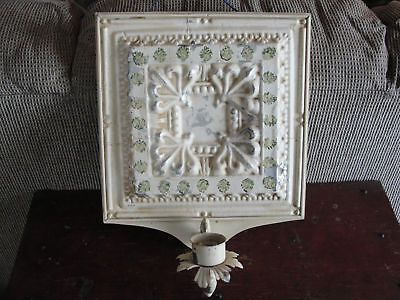 Old ceiling tin wall hanging,antique collectible gothic metal vtg candle holder