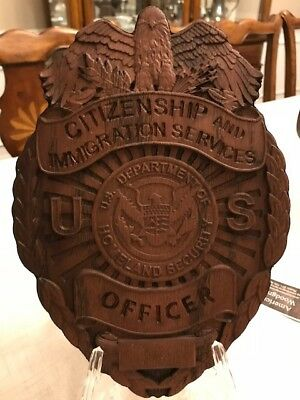 USCIS Immigration Officer Badge Wood Carved Plaque