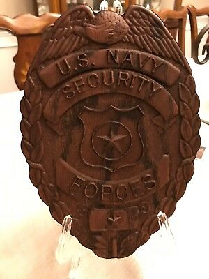 US Navy Security Forces Wood Carved Badge