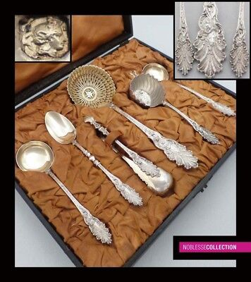 ANTIQUE 1900s FRENCH STERLING SILVER & VERMEIL TEA SET 6 pc Sugar sifter spoon
