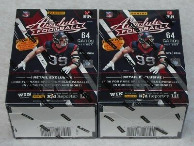 Panini Absolute Football 2016 Nfl Trading Cards Lot Of 2 Blaster Boxes Sealed