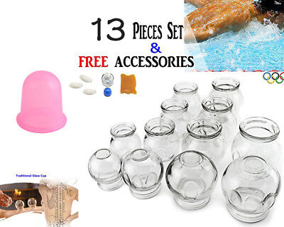 12 Thick Glass Cupping Set + 1 Portable Professional Tension Release #2 #3 #4 #5