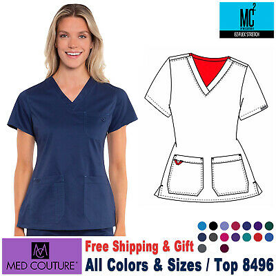 MED COUTURE V-Neck Multi Pocket Stretch Medical Nursing Work Top Size XS-3XL