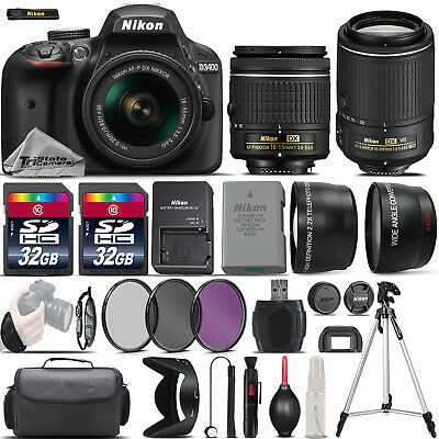 Nikon D3400 Digital SLR Camera + 18-55mm + 55-200mm VR II + 64GB - 4 Lens Kit