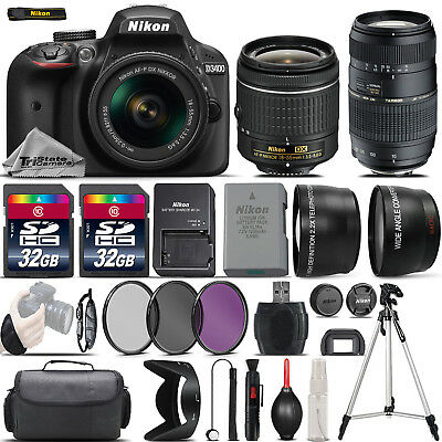 Nikon D3400 Digital SLR Camera + 18-55mm + 70-300mm + 64GB & More -4 Lens Kit
