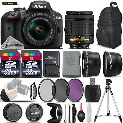 Nikon D3400 Digital SLR Camera +3 Lens 18-55mm + 64GB -Great Saving Full Kit