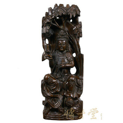 Chinese Antique Wood Carved Kwan Yin Statuary 25X33