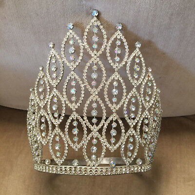 """Vintage Child Beauty Pageant Crown Tiara 8.5"""" Tall"""