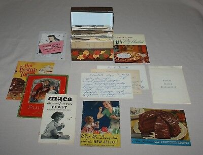 Syndicate Brown Metal Recipe Box Leaves with Written Typed Clipped and Booklets