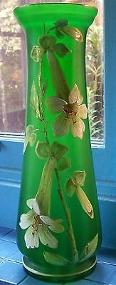 Victorian Satin Green Glass Vase with hand painted Flowers - 38.5 cm tall