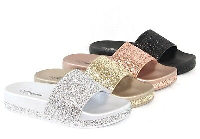 Women Sandals Sequins Sandals Bling Glitter Lightweight Slip On Flip Flops Shoes