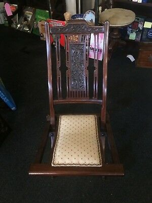 Antique Early 20th Century Edwardian Wooden Finely Carved Mahogany Folding Chair