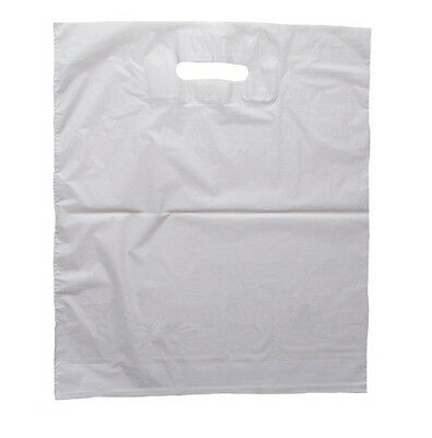 """1000 x 500 x White LDPE Plastic Shopping Carrier Bags 15"""" x 18"""" Patch Handle"""