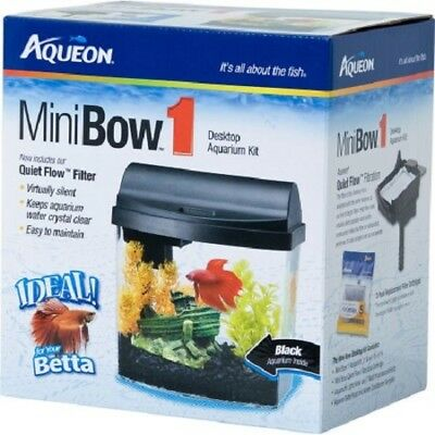 """MINIBOW 1"" DESKTOP AQUARIUM KIT WITH LED LIGHTING by Aqueon - BLACK"