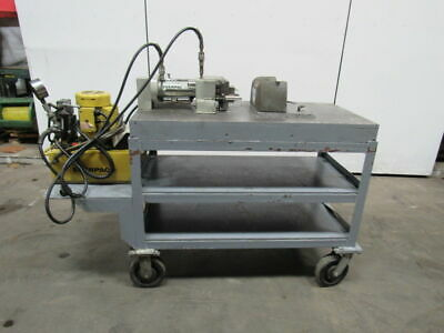 """Enerpac 16 Ton Punch Press 115V Mounted On 4' X 2' X 5/8"""" Steel Table W/Wheels"""