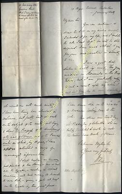 1849 Governor of BERMUDA, William Reid, RARE letter,  re his Book of Storms