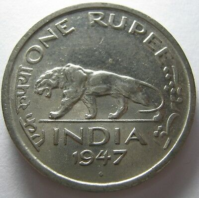India Classic One Rupee 1947 Bengal Tiger Coin Au . R3