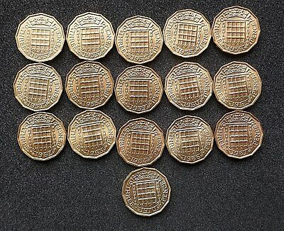Elizabeth Brass Threepence - 1953 to 1970  A/UNC - BU - Proof - choose your date