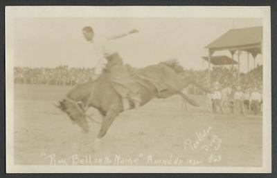 1922 Pendleton OR Round-Up Rodeo RPPC Real Photo Postcard RAY BELL ON NO NAME