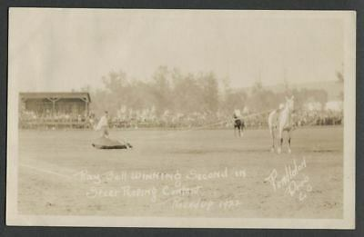 1922 Pendleton OR Round-Up Rodeo RPPC Postcard RAY BELL WINNING STEER ROPING