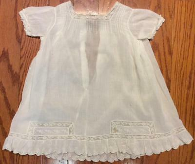 Antique Cotton linen Embroidered white Dress night gown baby doll 6 month lace