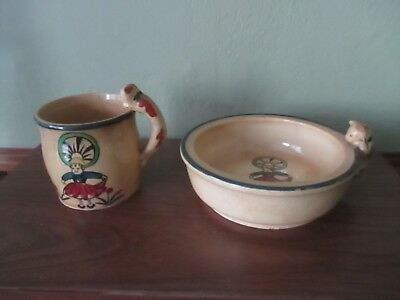 Antique Japan  Baby Mug & Bowl Cat Handle ADORABLE CAT PEERING INTO BOWL AND CUP