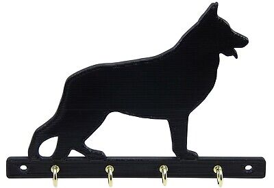 German Shepherd Dog Leash Rack Holder Hanger Key Organizer Wall Mounted 4 Hooks