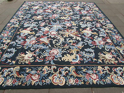 Old Hand Made Traditional Portages Wool Dark Green Needlepoint  359X307cm