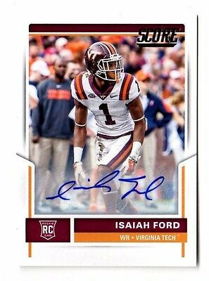Isaiah Ford Nfl 2017 Score Rookie Autographs (Miami Dolphins,virginia Tech)
