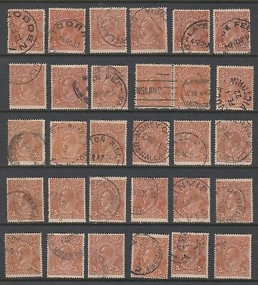 1915 5d BROWN KGV, Single Watermark, 30 stamps, USED