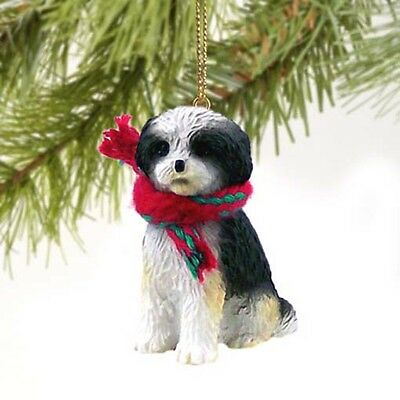 Shih Tzu Puppy Cut Black White Dog Tiny One Miniature Christmas Holiday ORNAMENT