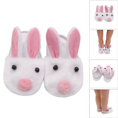 Lovely Plush Rabbit Slipper Shoes For 18 inch Our Generation American Girl Doll