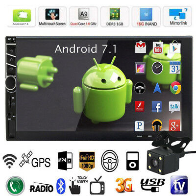 "Car Radio Stereo Android 7.1 MP5 Quad Core 3G WIFI 7"" Double 2DIN GPS Player CAM"
