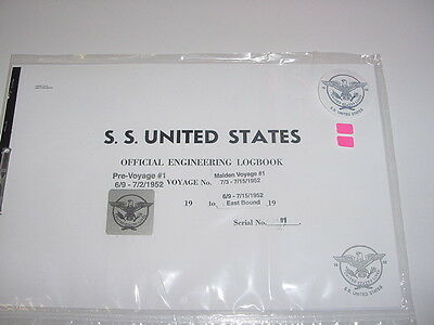 SS UNITED STATES LINES  MAIDEN VOYAGE Logbook...Original Copy  / July 07, 1952