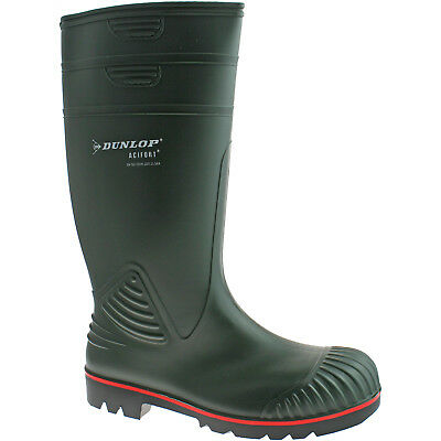 Dunlop Actifort Steel Toe Safety Wellies Size Uk 6 - 13 Mens Pvc Green W138E Kd