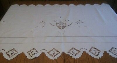 Vintage Linen Double Pillow Lay Over White-On-White Embroidery Cutwork Drawnwork