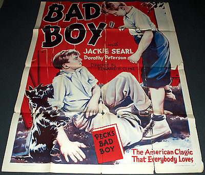 PECK'S BAD BOY 1934 ORIGINAL 41x52 3 SHEET MOVIE POSTER! JACKIE COOPER CLASSIC!