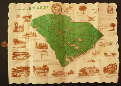 1965 Welcome to South Carolina Historic sites placemat-Plantations-Golf-Fishing!