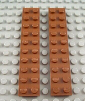 New LEGO Lot of 2 Reddish Brown 2x10 Plate Pieces