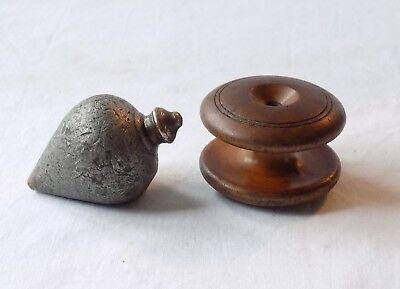 Vintage Antique Heavy Lead & Brass Plumb Bob With Turned Wood String Spool.