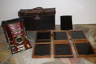 1899 Manhattan Optical Cycle Wizard Camera 4x5 6 plates and leather case