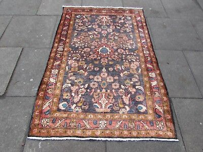 Old Hand Made Traditional Persian Rugs Oriental Rug Wool Blue Rug 170x115cm