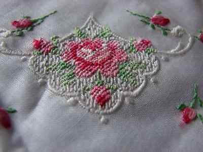 Beautiful Vintage Swiss Fine Cotton Wedding Hankie,Handkerchief~Embroidery Roses
