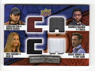 2016 Captain America Civil War Broken Bonds Quad Vs. Relics Costume Card (Stark