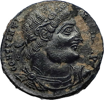 CONSTANTINE I the GREAT 330AD Authentic Ancient Roman Coin w SOLDIERS i67000