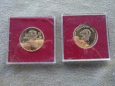 2 X Bandy- Sj World Cup 1992-Ljusdal-15 Kroner Coins/medallions