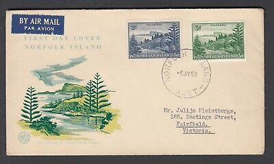 NORFOLK ISLAND 1959 New COLOURS - 3d, 2/- BALL BAY First Day Cover